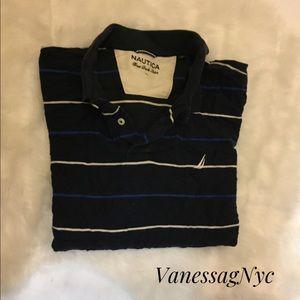 Nautica Polo Shirt Blue & Black Sz Large